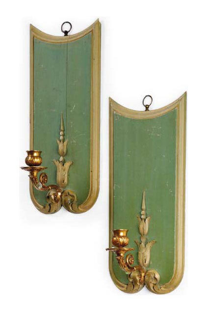 A PAIR OF ITALIAN GREEN-PAINTED WALL APPLIQUES