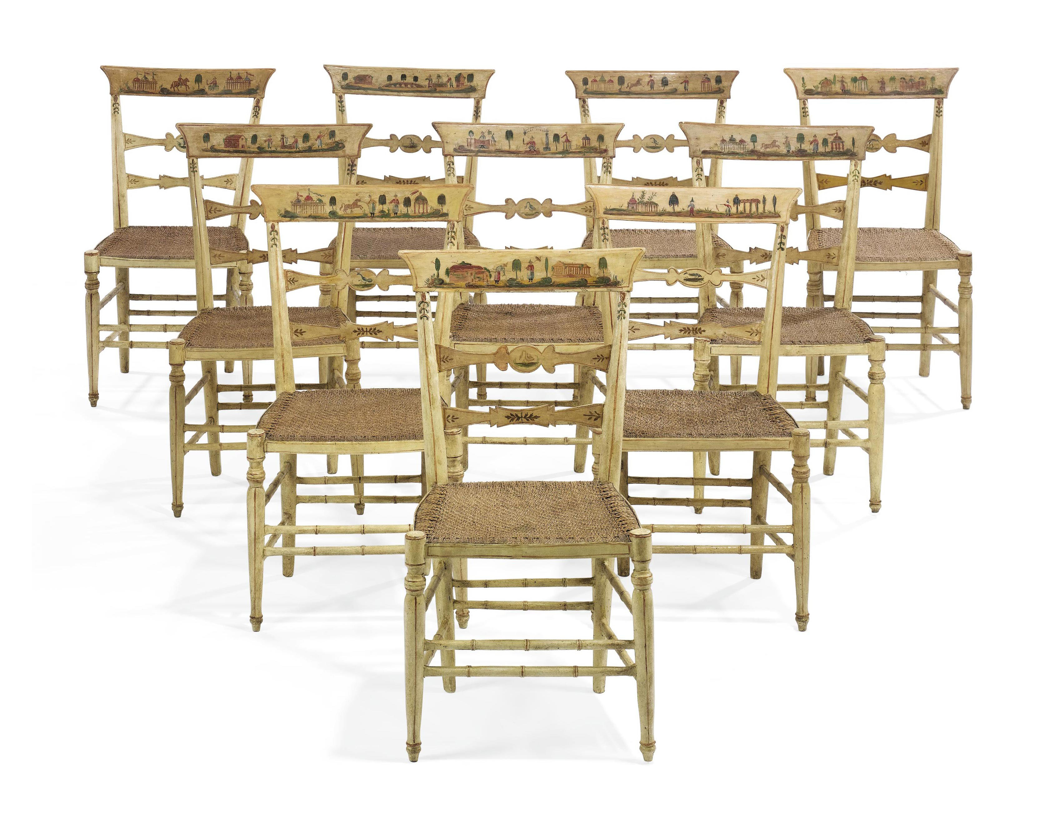 A SET OF TEN NORTH ITALIAN YELLOW AND POLYCHROME-DECORATED SIDE CHAIRS