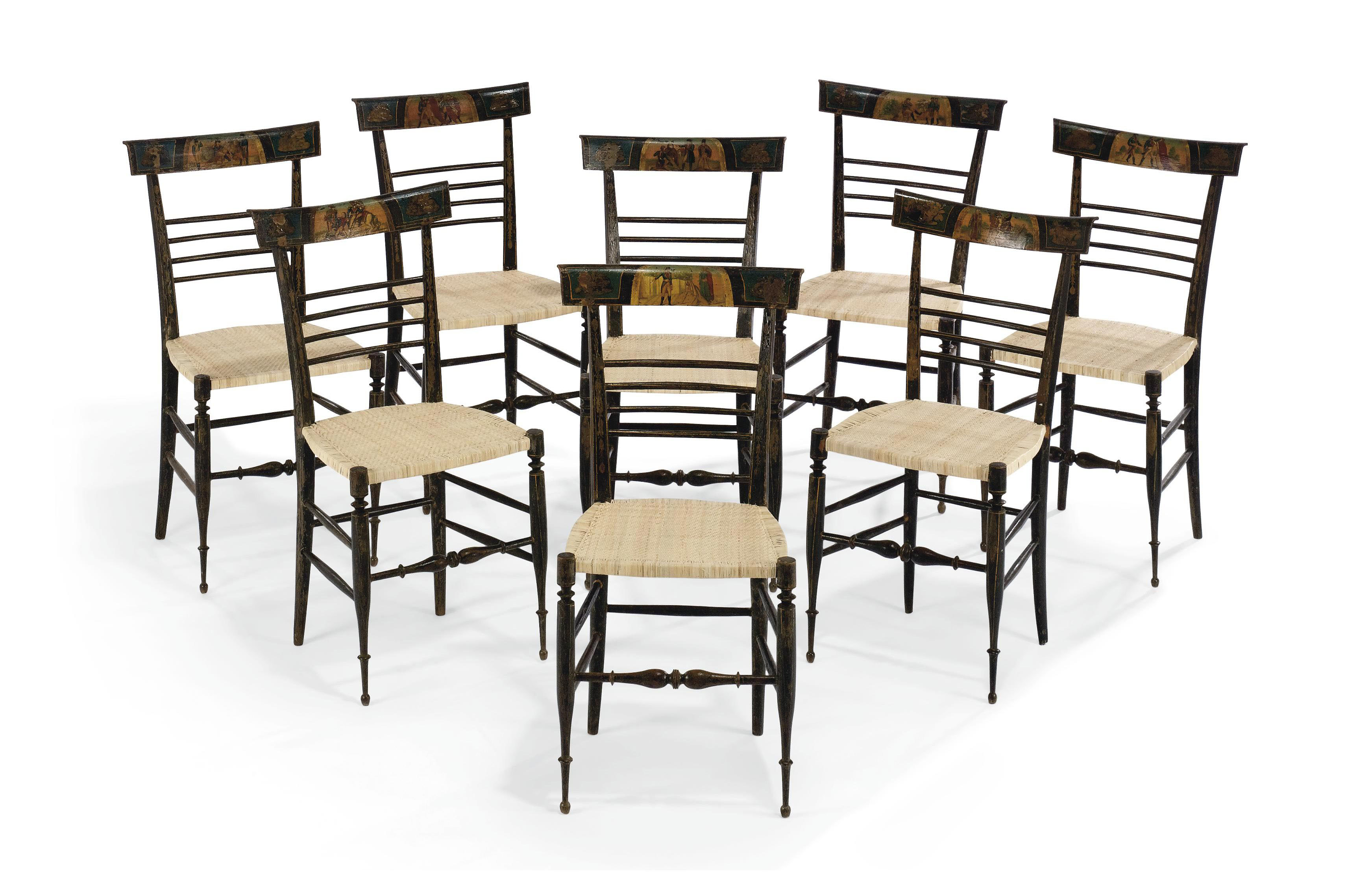 A SET OF EIGHT LIGURIAN LACCA POVERA AND EBONISED SIDE CHAIRS