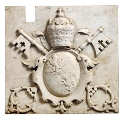 A ROMAN WHITE MARBLE PAPAL ARM