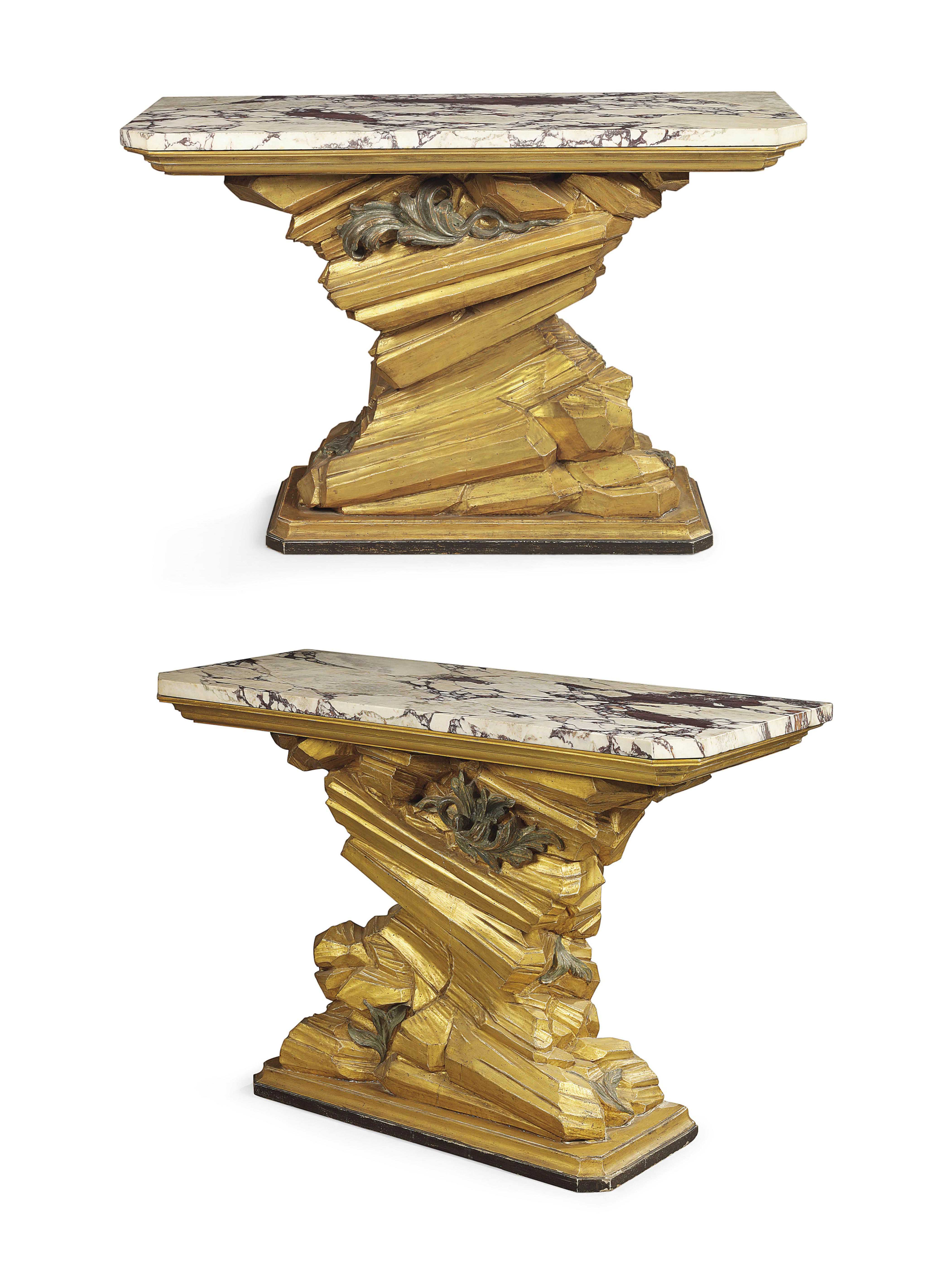 A PAIR OF ROMAN GILTWOOD AND G