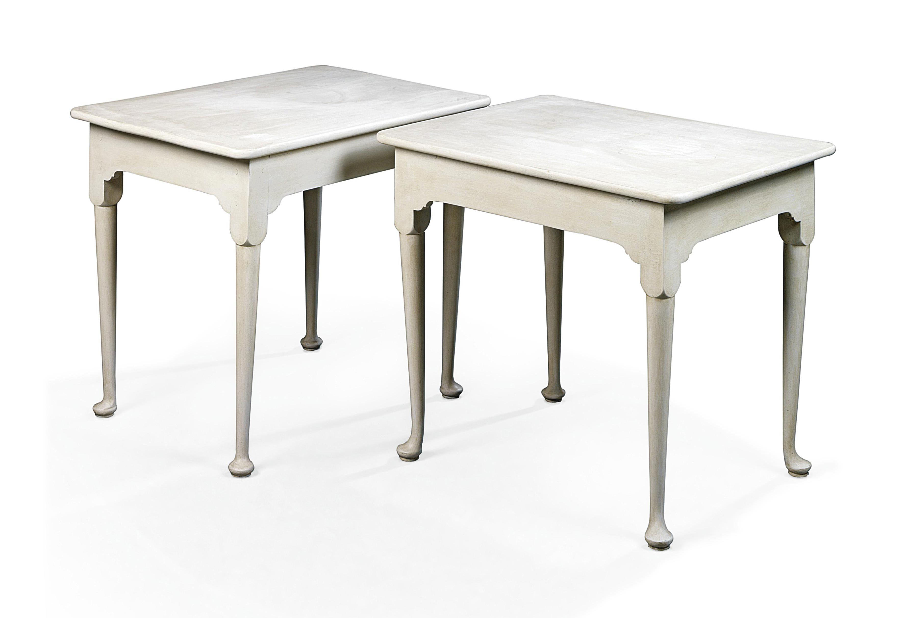 A PAIR OF GEORGE II-STYLE WHITE-PAINTED OCCASIONAL TABLES
