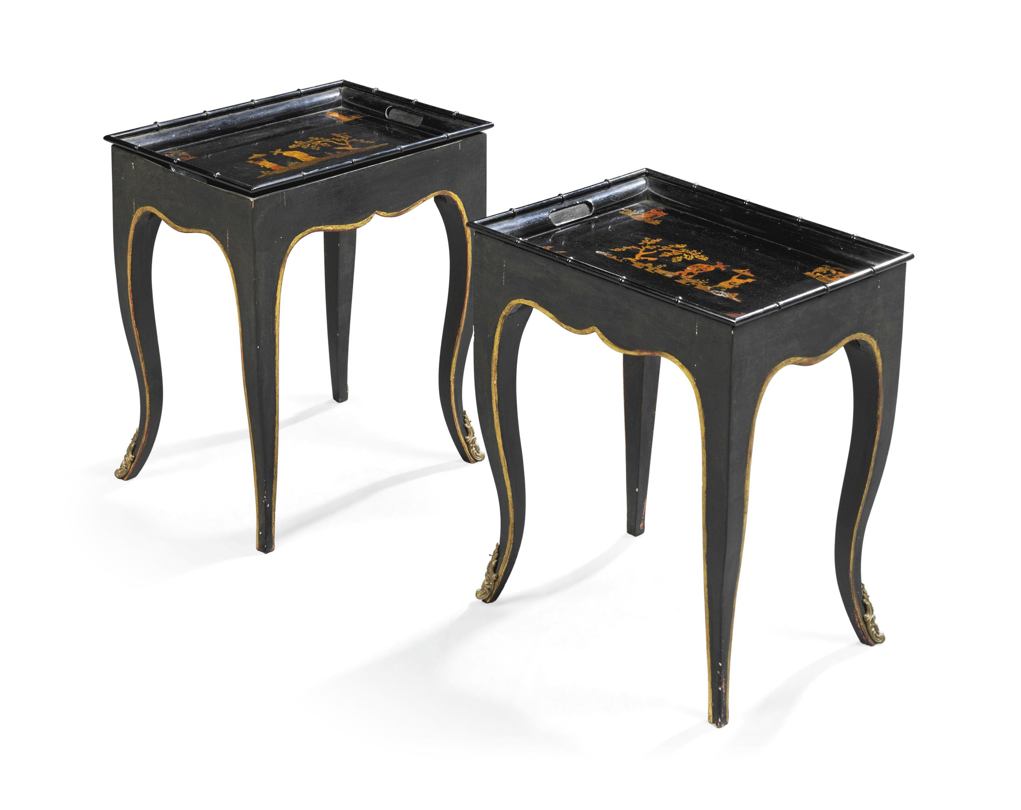 A PAIR OF LOUIS XV-STYLE PARCEL-GILT AND BLACK-PAINTED TOLE TRAYS-ON-STANDS