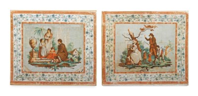 A PAIR OF FRENCH POLYCHROME PA