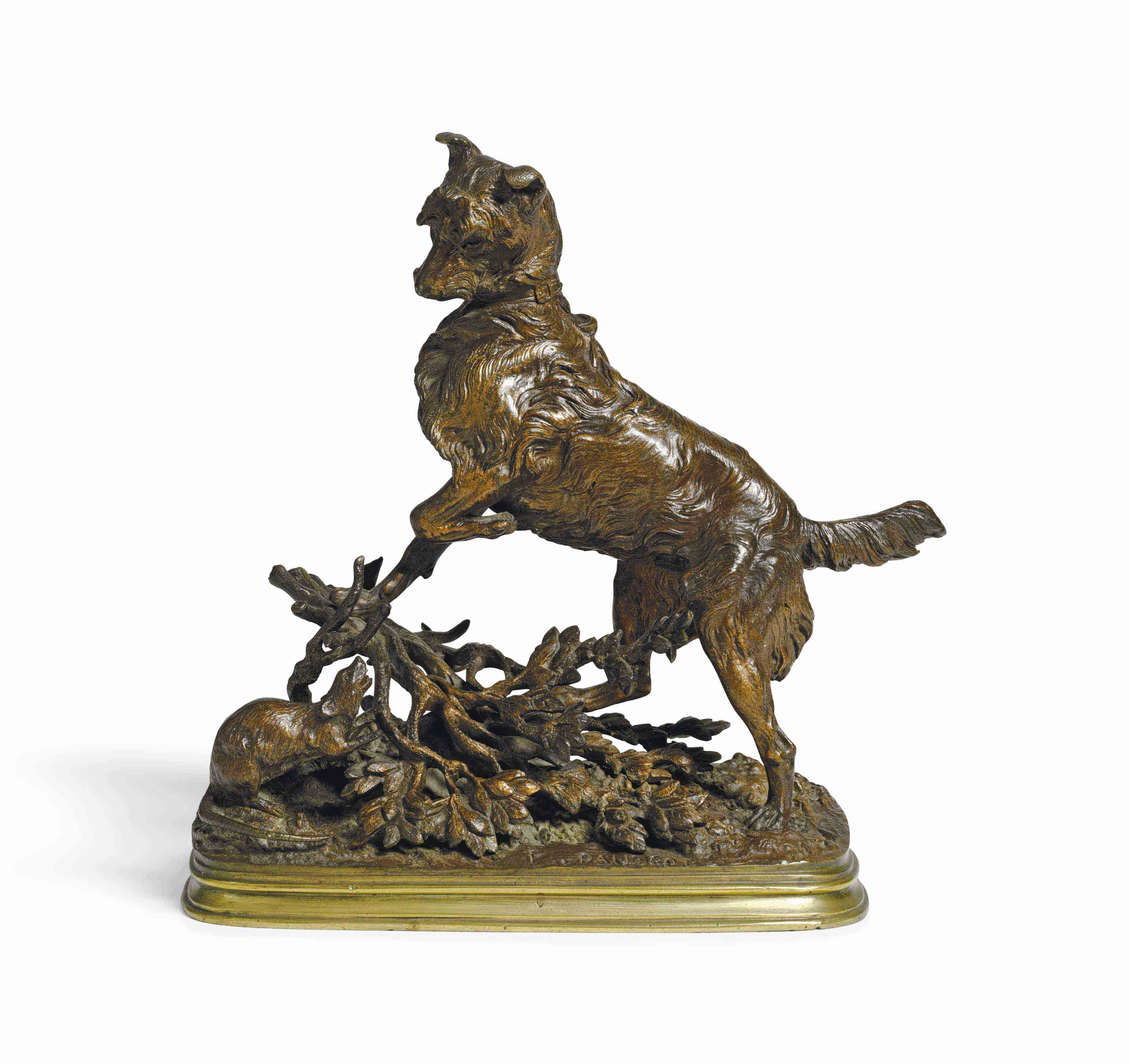 A FRENCH BRONZE MODEL OF A DOG AND A RAT