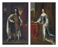 Portrait of King William III (1650-1702), full-length, in robes of state, beside a table with the crown and orb; and Portrait of Queen Mary II (1662-1694), full-length, in robes of state, by a draped table on a terrace