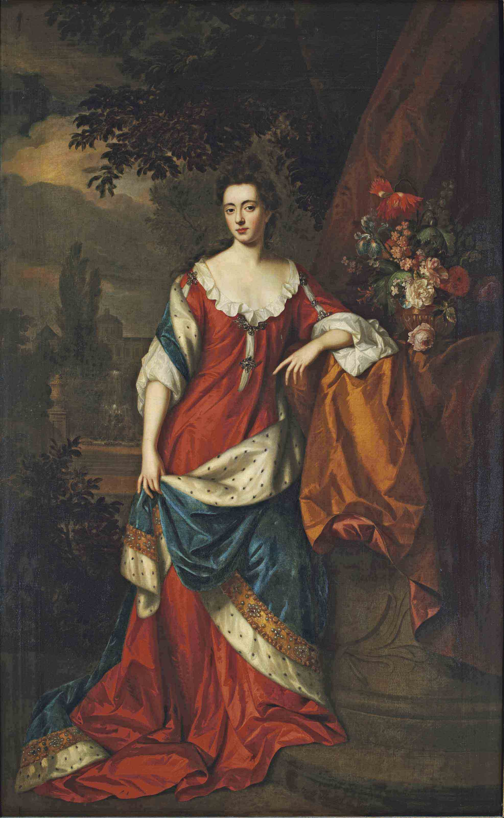Portrait of Francis Thynne, Lady Worsley, full-length, in a red dress and a blue ermine-lined mantle, a domed mansion in a garden beyond
