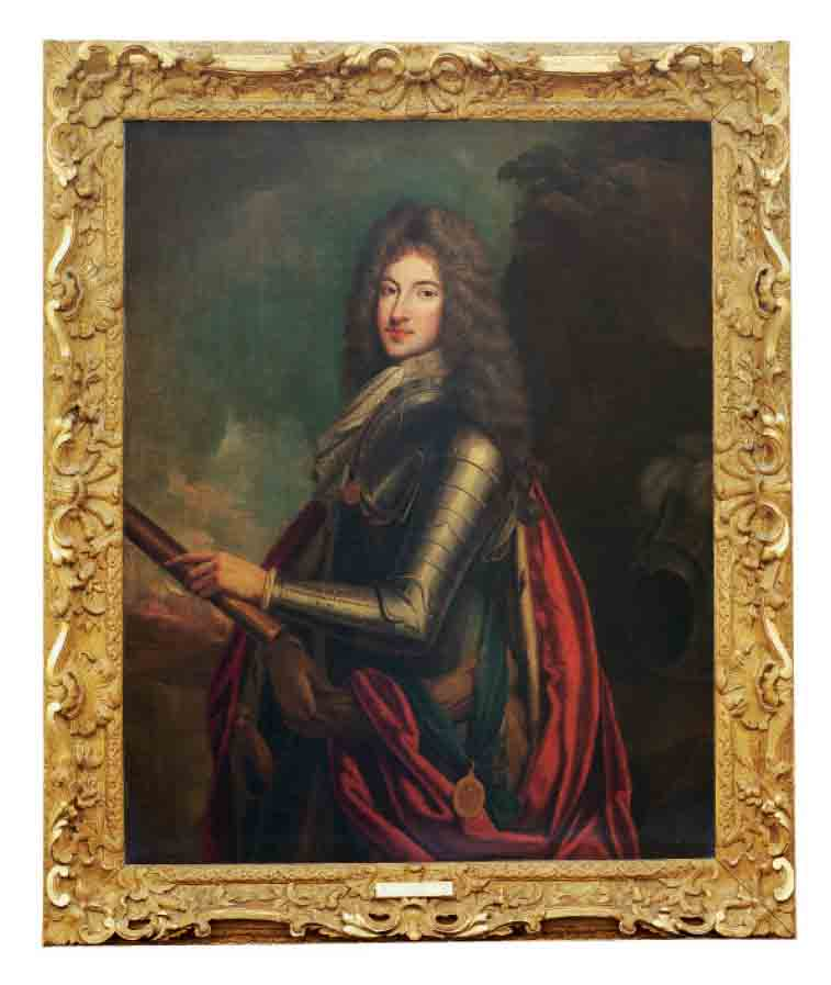 Portrait of an officer, possibly James Fitzjames, Duke of Berwick (1670-1734), three-quarter-length, in armour with the Garter ribbon, an ermine lined cloak, a sash around his waist, holding baton in his right hand, a plumed helmet on a rock to his right, in a landscape
