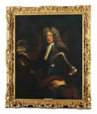 Portrait of an officer, traditionally identified as John, 1st Duke of Marlborough (1650-1722), three-quarter-length, in armour with the sash of the Garter, his right hand on a plumed helmet