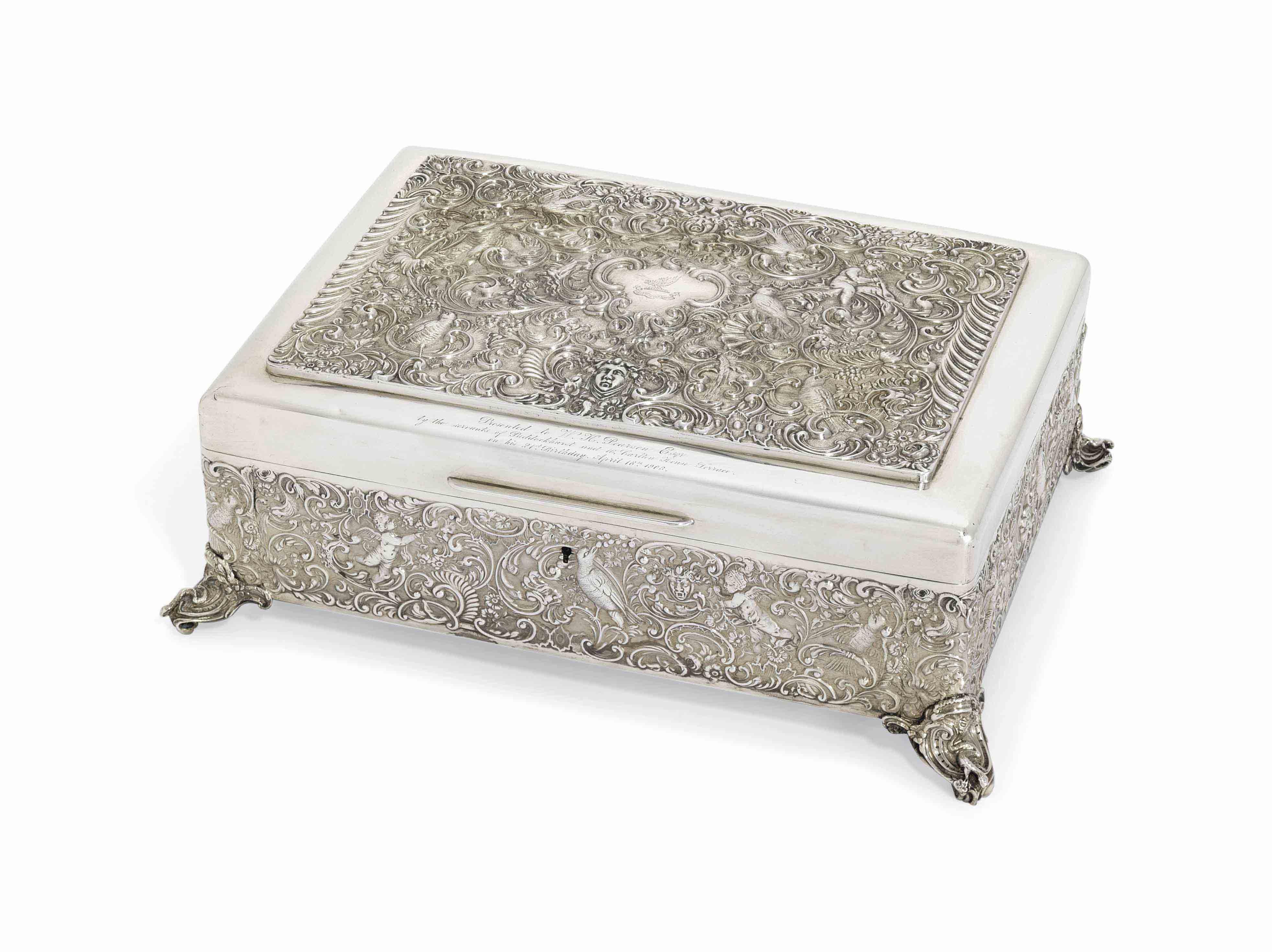 AN EDWARD VII SILVER CIGAR-BOX