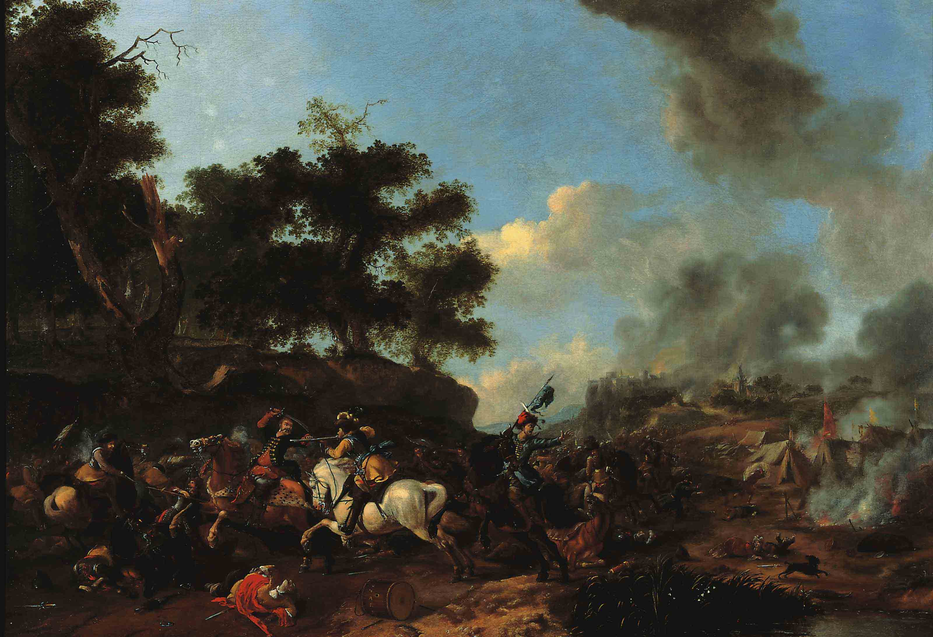 A skirmish with Polish Cavalry near an encampment