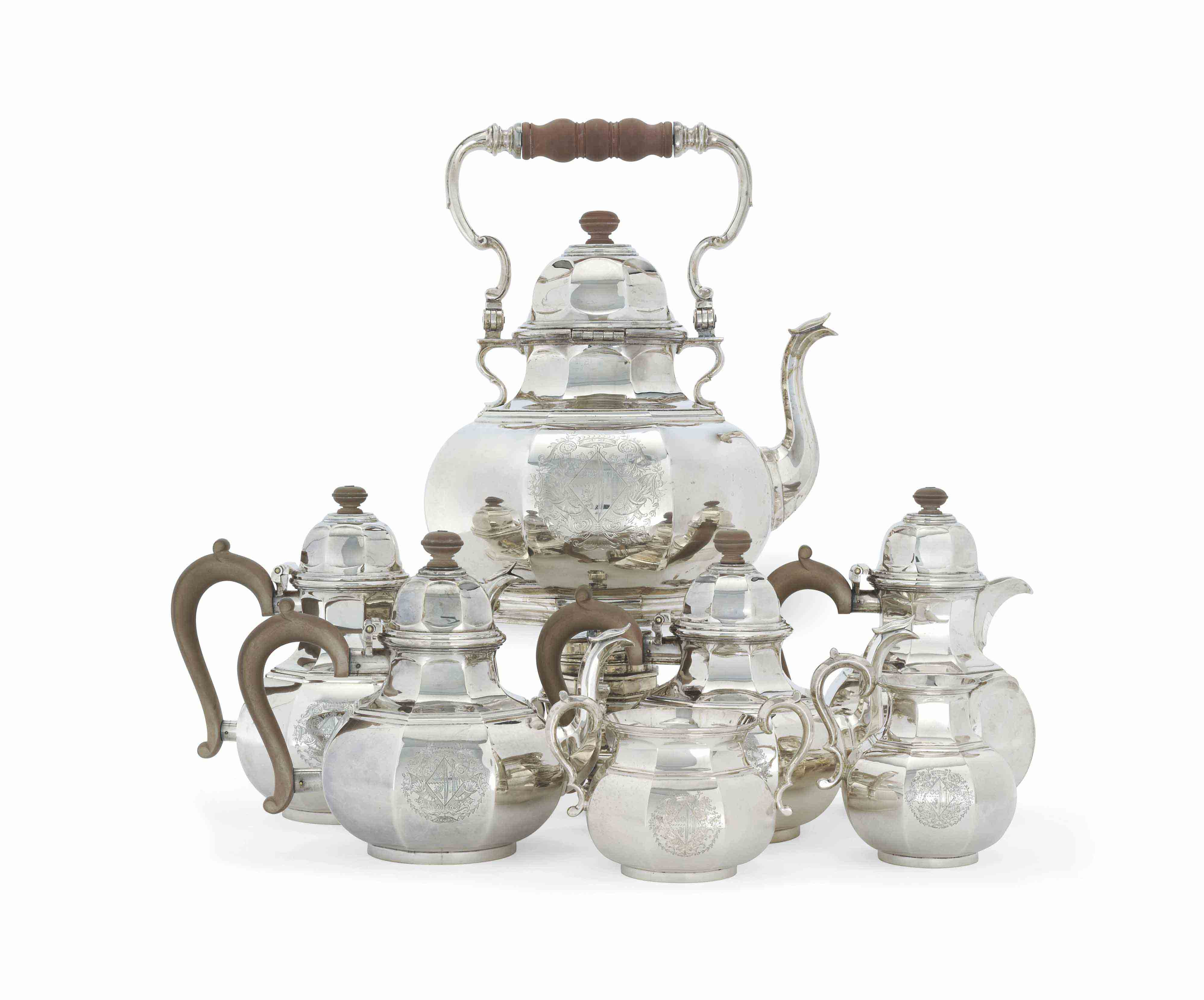 A MASSIVE GEORGE V SILVER TEA AND COFFEE-SERVICE