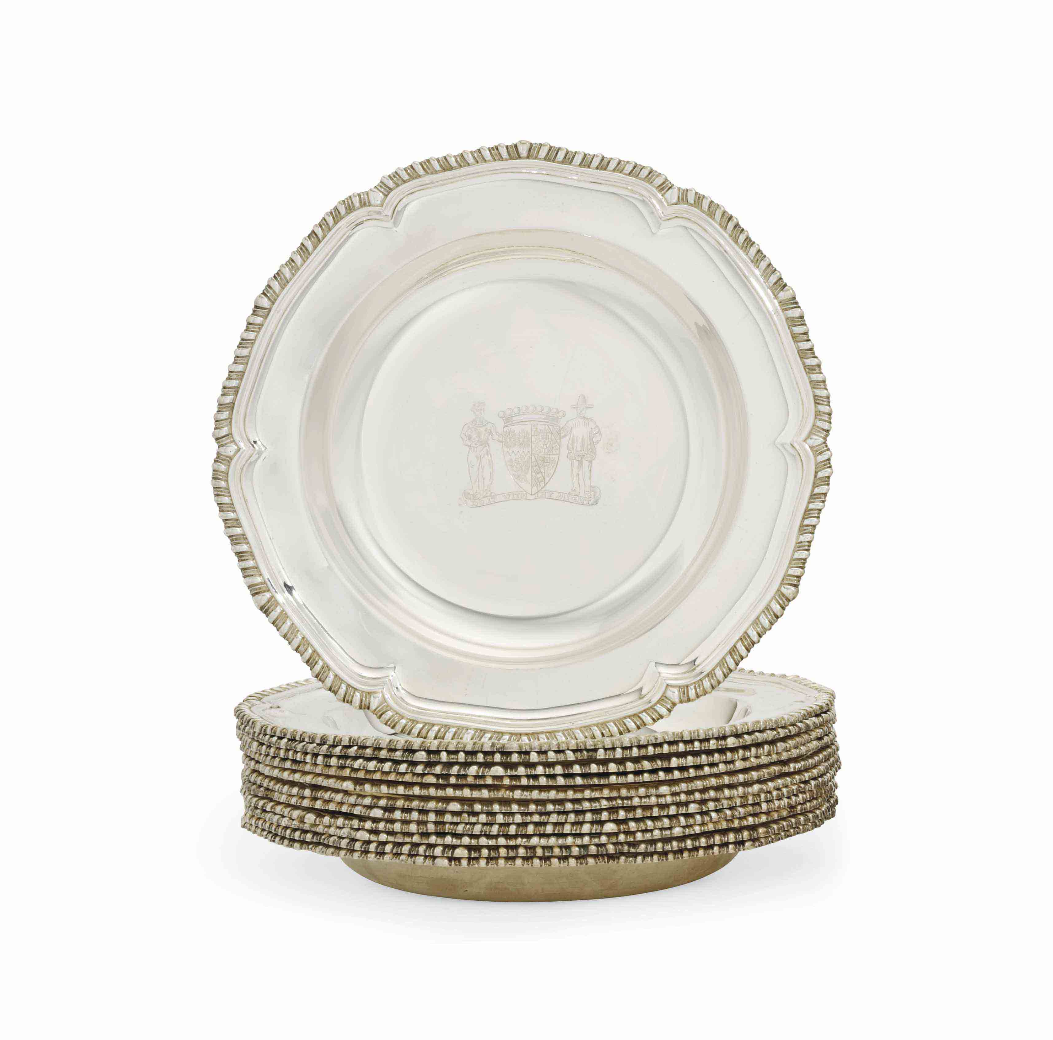 A SET OF TWELVE GEORGE V SILVER SOUP-PLATES