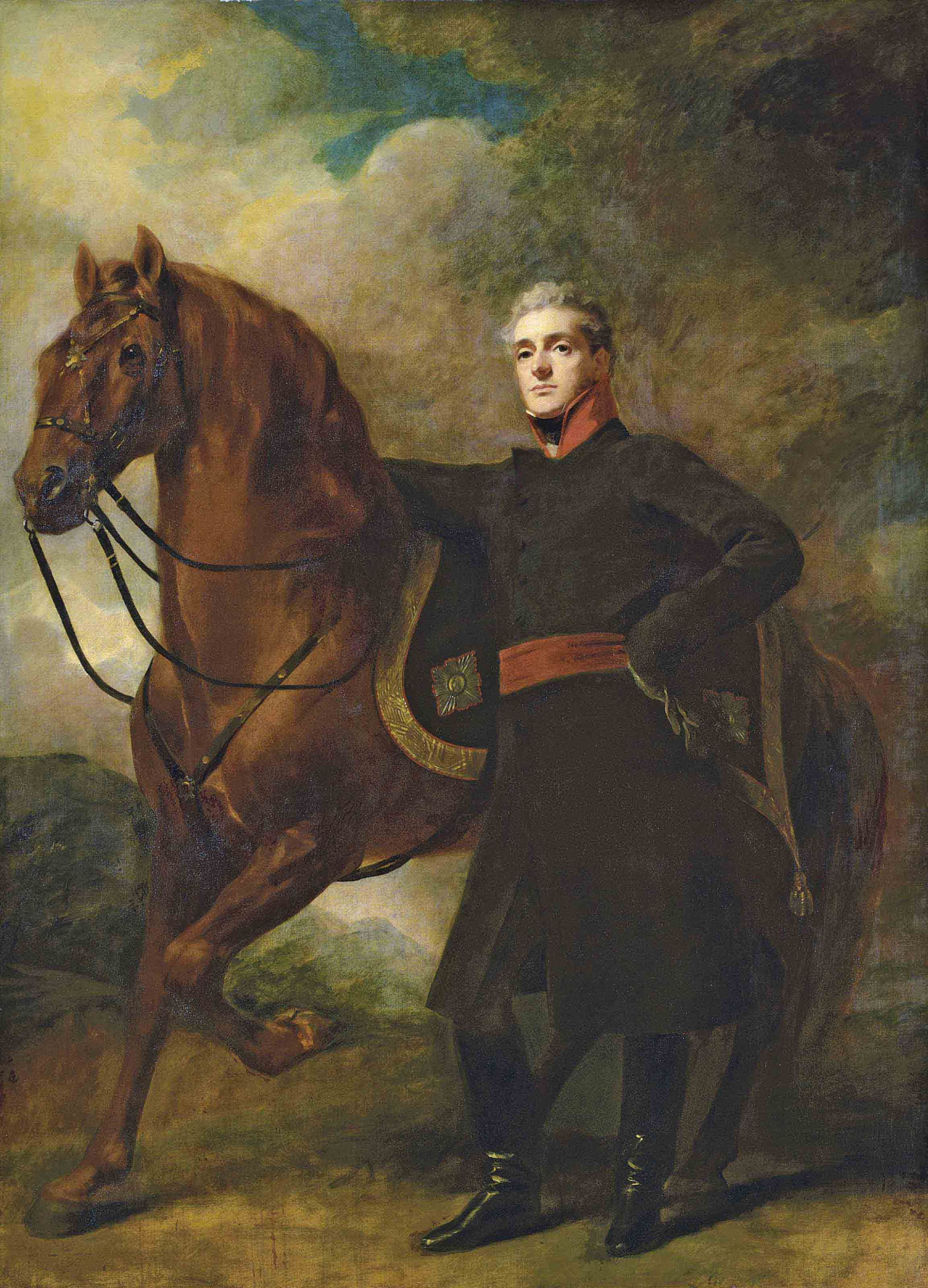 Portrait of Alexander Douglas-Hamilton, 10th Duke of Hamilton and 7th Duke of Brandon (1767-1852), full-length, in uniform, with his Arabian charger, in a landscape