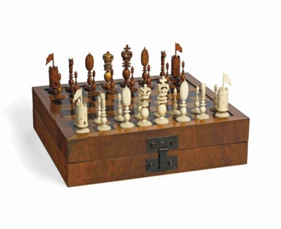 AN INDIAN CARVED IVORY CHESS S