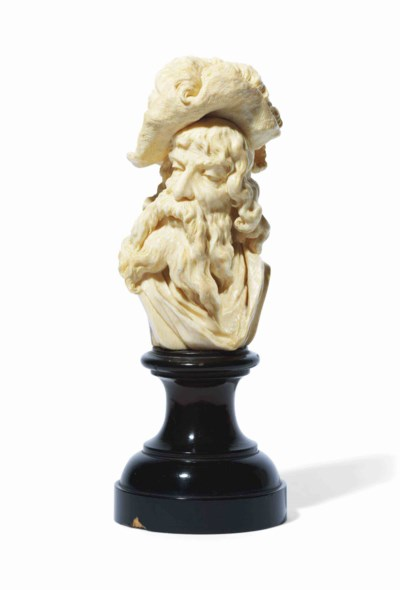 A DIEPPE IVORY BUST OF A DISSO