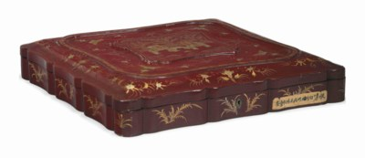 A CHINESE EXPORT RED-LACQUER B