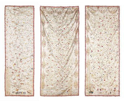 A SET OF TEN EMBROIDERED SILK