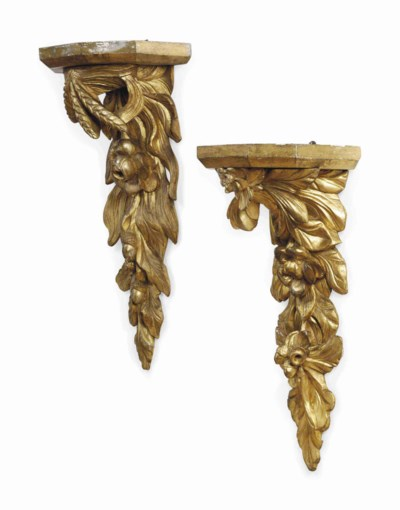 TWO VICTORIAN GILTWOOD WALL BR