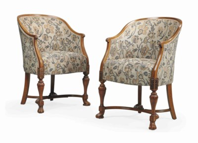A PAIR OF EDWARDIAN OAK AND CH