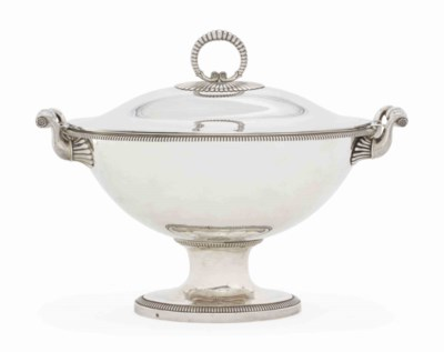 A FRENCH SILVER SOUP-TUREEN AN