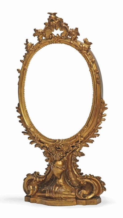 A FRENCH GILTWOOD TABLE MIRROR