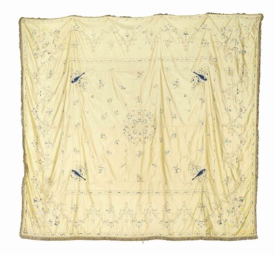 TWO SILK EMBROIDED COVERLETS