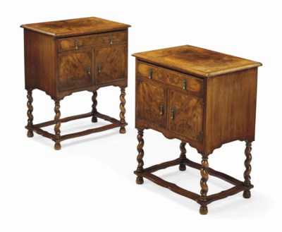 A PAIR OF WALNUT AND BURR-WALN