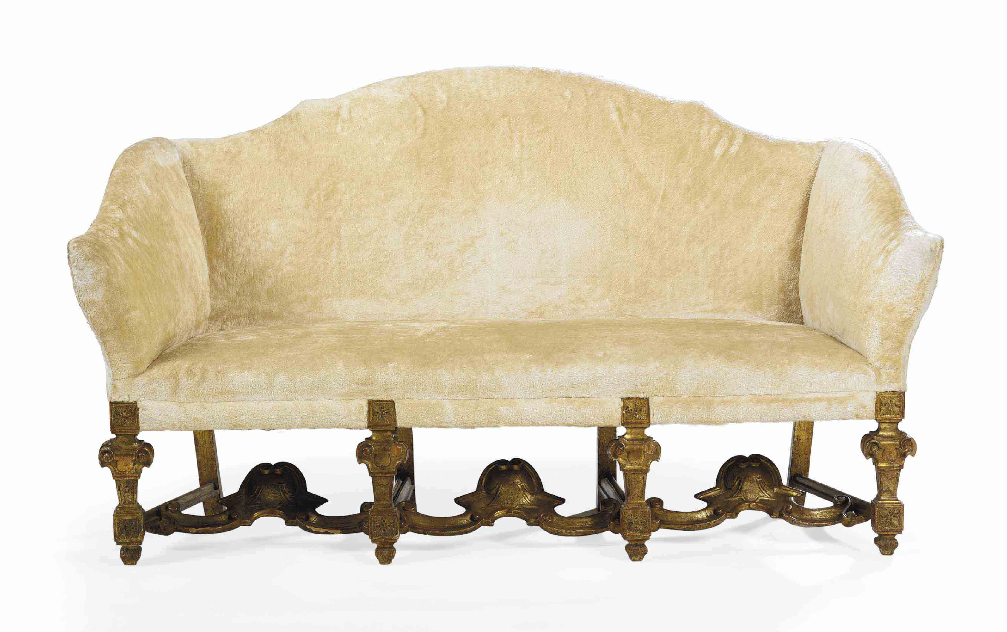 AN ENGLISH GILTWOOD SOFA