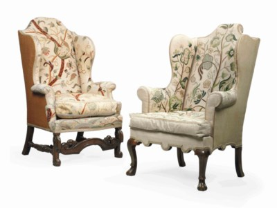 TWO ENGLISH WING ARMCHAIRS