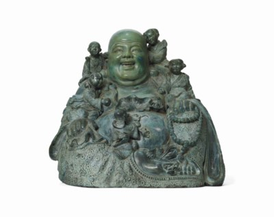 A LARGE CHINESE PAINTED BRONZE