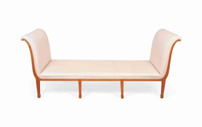 AN ENGLISH SATINWOOD DAYBED