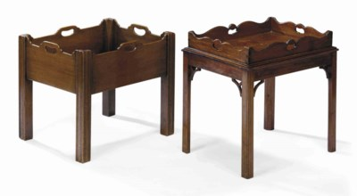 A MAHOGANY TRAY-ON-STAND AND A