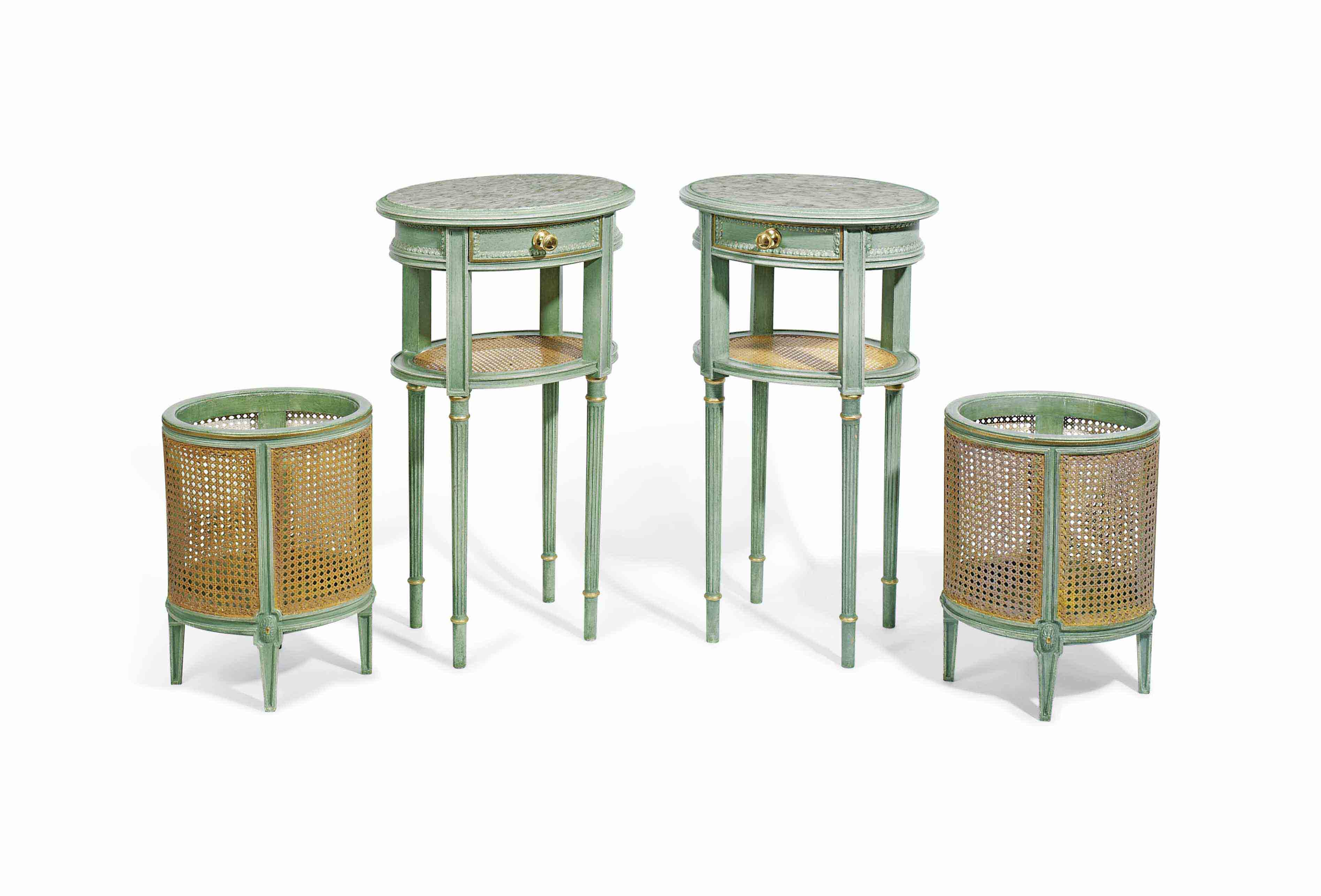 A PAIR OF GREEN-PAINTED BEDSIDE TABLES