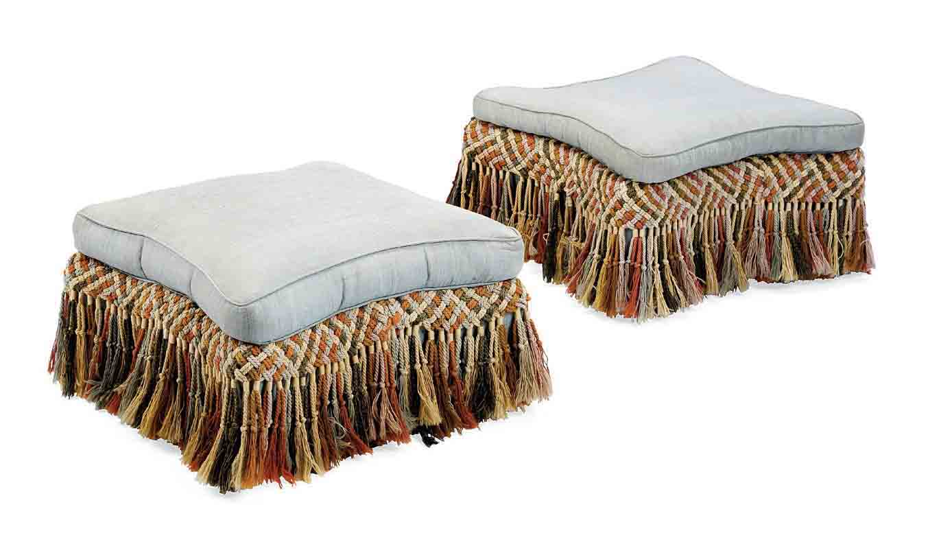TWO ENGLISH UPHOLSTERED OAK FOOT STOOL