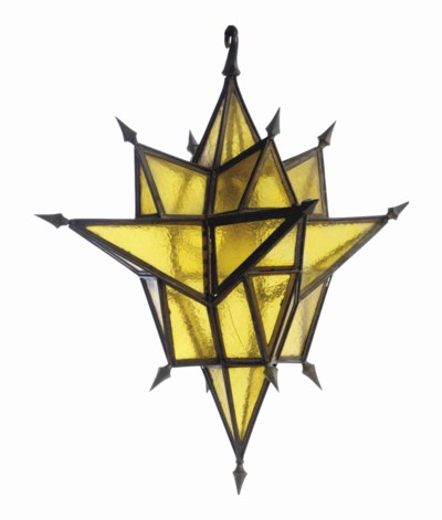 A BRASS AND YELLOW-GLASS MULTI