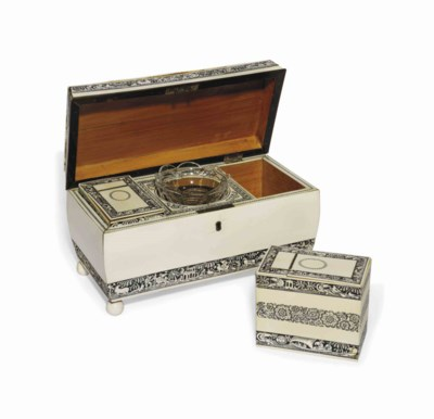 A VIZAGAPATAM IVORY TEA CADDY