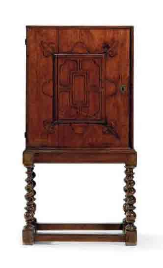 A FRENCH WALNUT SIDE CABINET-O