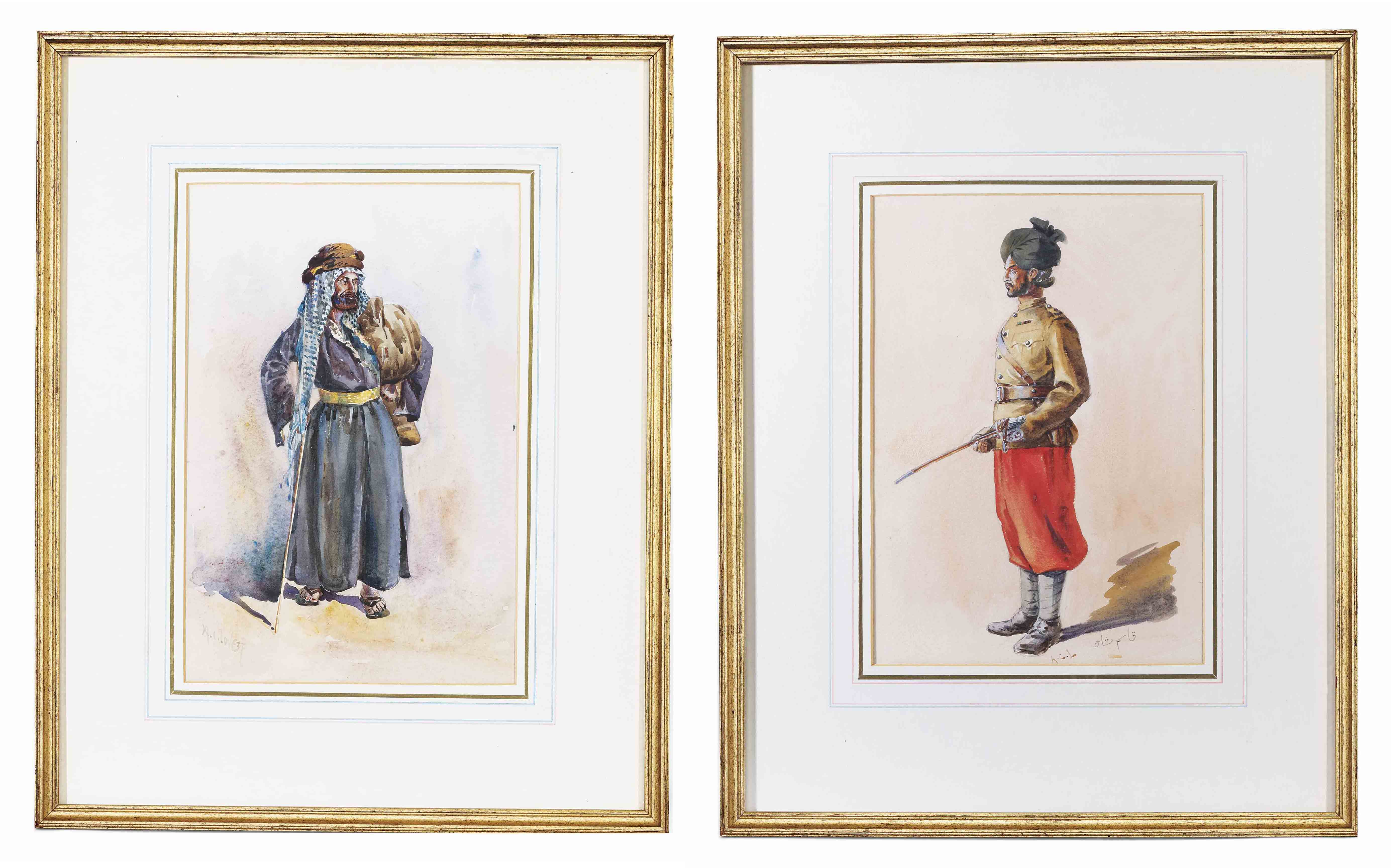 An Indian beggarman; and An Indian soldier in a turban