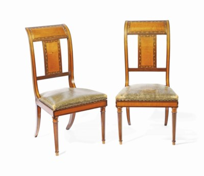 A PAIR OF ROSEWOOD AND SATINWO