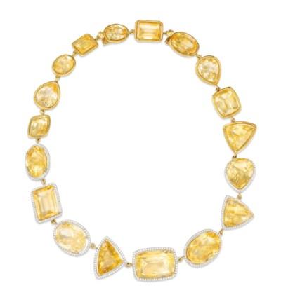 A CITRINE AND DIAMOND NECKLACE