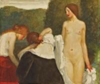 Three girls preparing to bathe