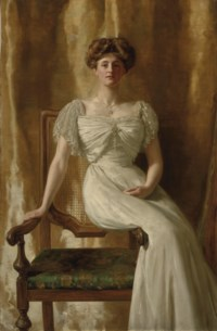 Portrait of The Hon. Mrs Harold Ritchie, full-length, seated in a white dress with lace trim