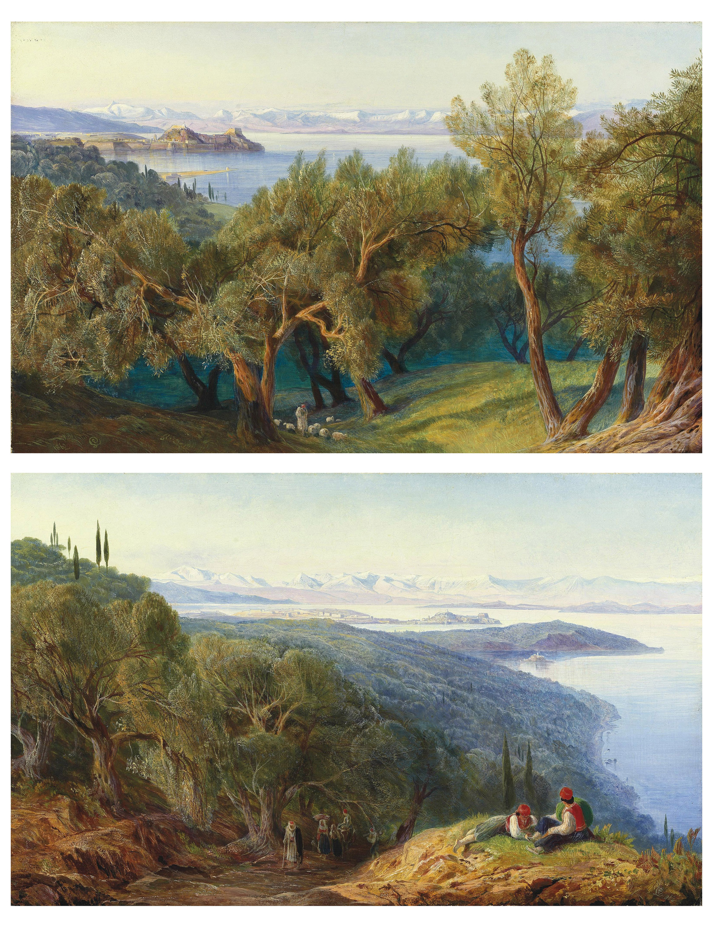 Corfu from the village of Ascension; and Corfu from the Benitza Road, on the hill of Gastouri