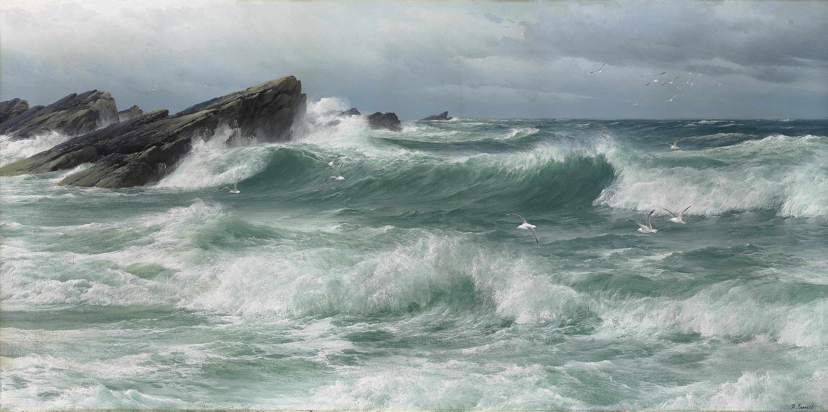 Waves breaking on a rocky coast