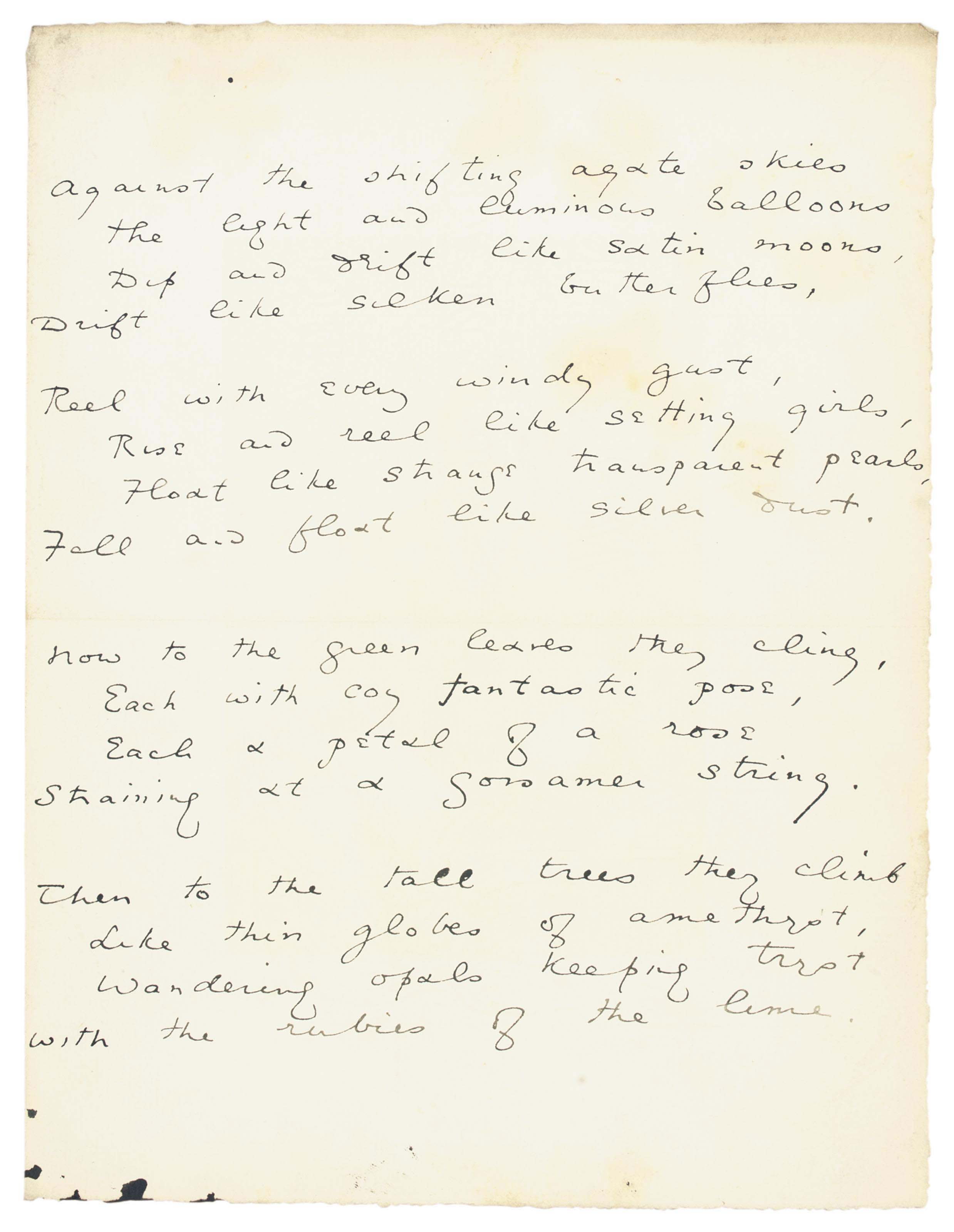 WILDE, Oscar (1854-1900). Autograph manuscript of the poem, 'Against the shifting agate skies' ('Les Ballons'), n.d., four stanzas of four lines each on one page, 4to (229 x 176mm), (minor soiling and spotting), tipped into an album, olive morocco gilt by Wood, London. Provenance: John B. Stetson, Jr -- his sale, Anderson Galleries, 23 April 1920, lot 212 -- private collection.
