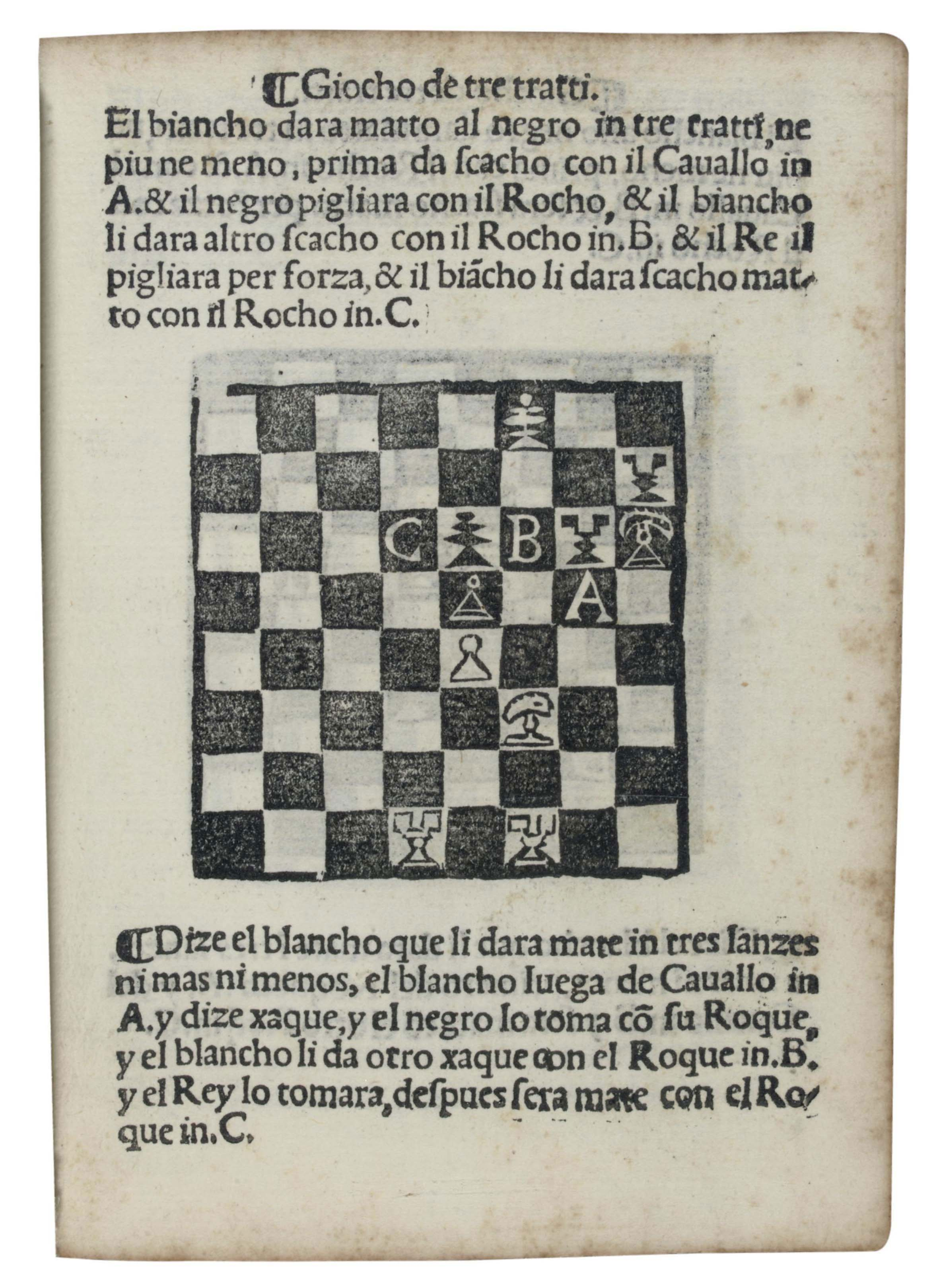 DAMIANO DE ODEMIRA (d. 1544). Libro da imparare giocare a scachi: et de belitissimi partiti: reuisti & recorretti. [No place: 1524 or later].