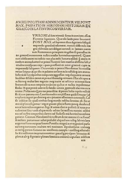 HERODIANUS, Aelius (early 3rd century). Historia de imperio post Marcum. Translated from the Greek by Angelus Politianus (1454-94). Rome: [eponymous press], 20 June 1493. Collation: a8 b-h6 i4. 54 leaves. [Bound second with:]