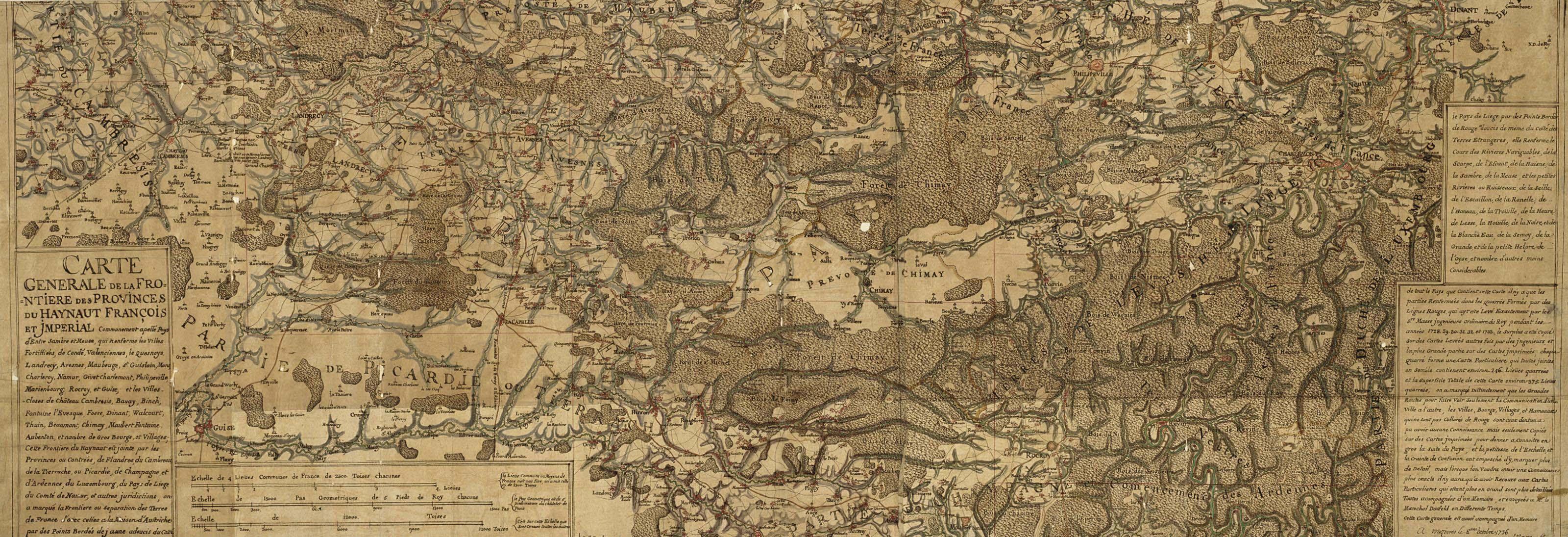 MASSE, Claude (1652-1737) and sons. Carte Générale de la Frontière des Provinces du Haynaut François et Imperial. Mezieres: 8 October 1736.