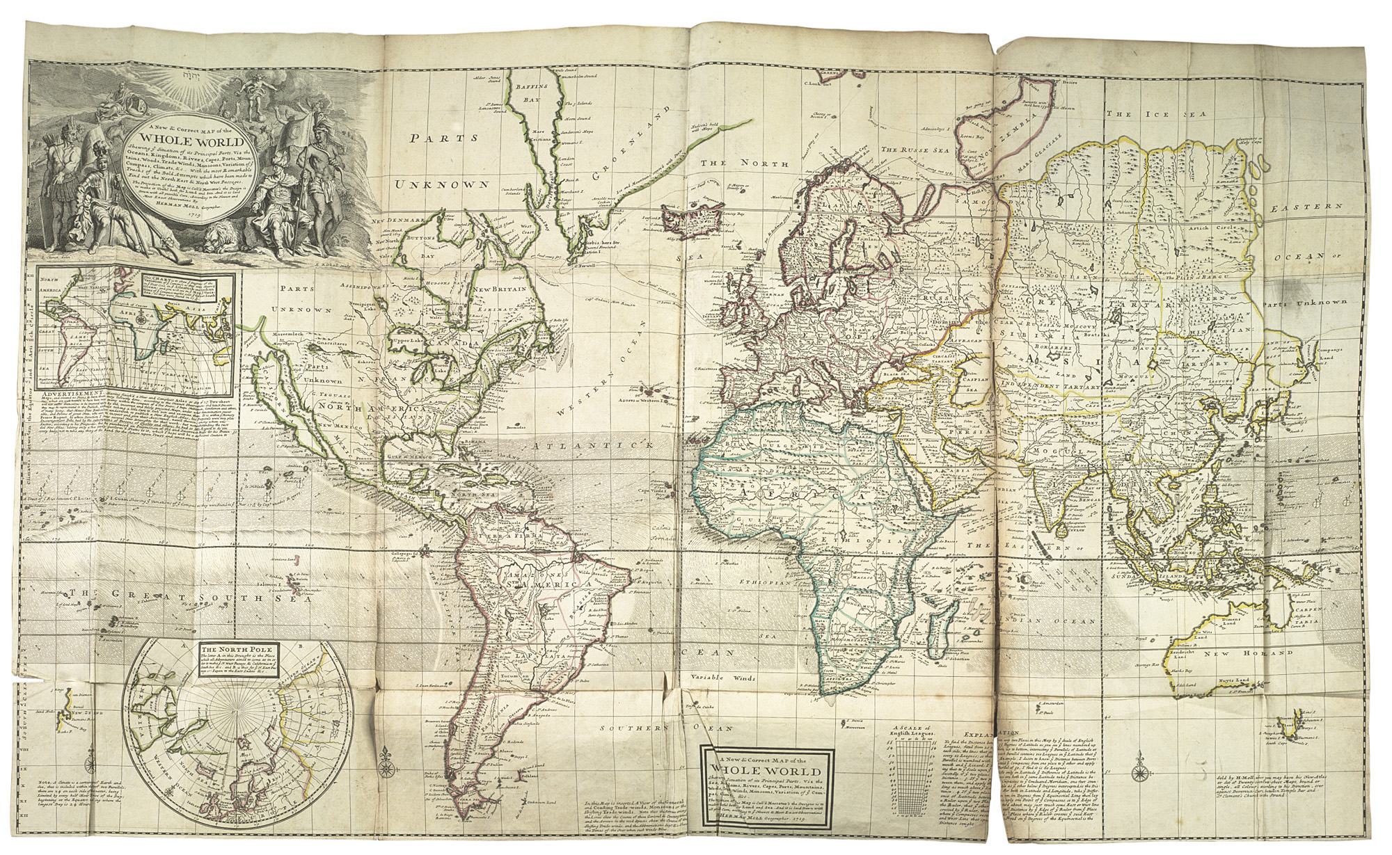 MOLL, Herman (?1654-1732). [The World Described; or a new and ...